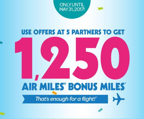 Air Miles完成五个任务送1,250 miles